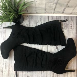 Adrienne Vittadini black scrounged front knee high